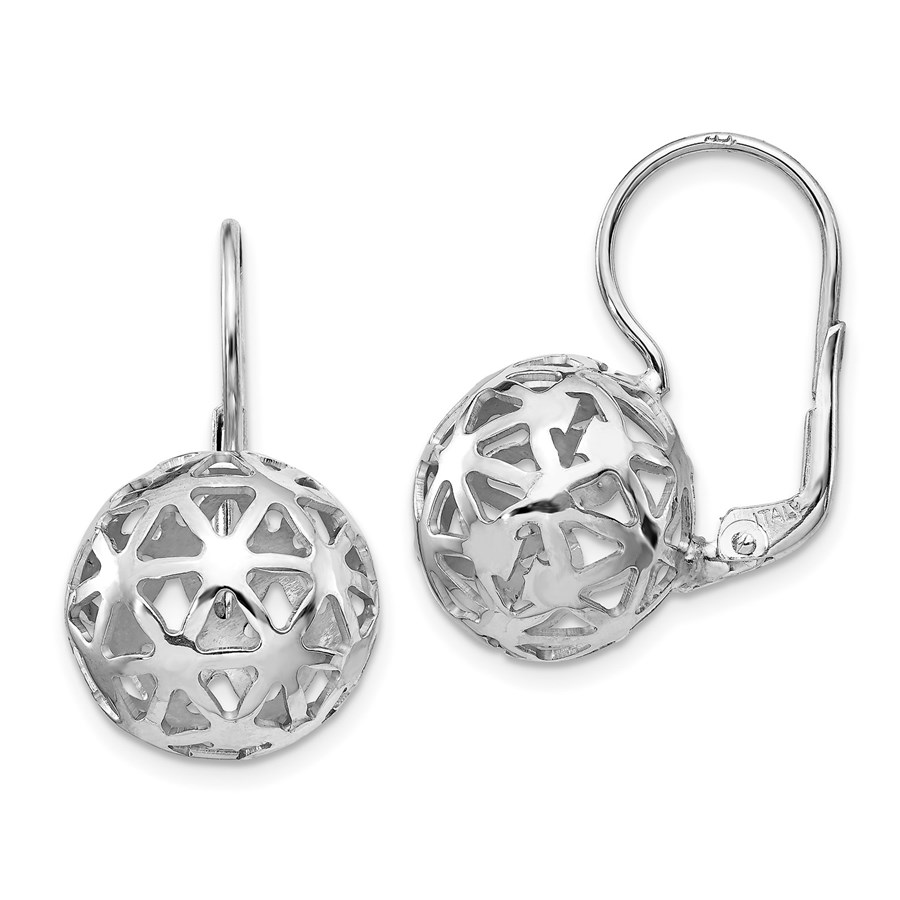 Sterling Silver Rhodium-plated Ball Leverback Earrings - 22 mm