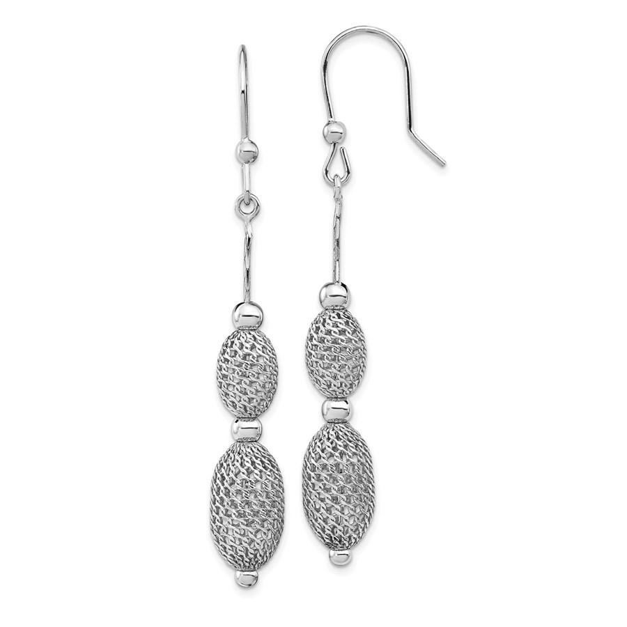 Sterling Silver Rhodium-plated Beaded Dangle Earrings - 66 mm