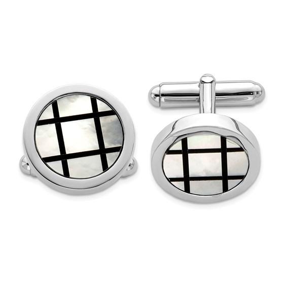 Sterling Silver Rhodium-plated Black Enamel Cuff Links - 18 mm