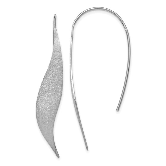 Sterling Silver Rhodium-plated Brushed Earrings - 50 mm