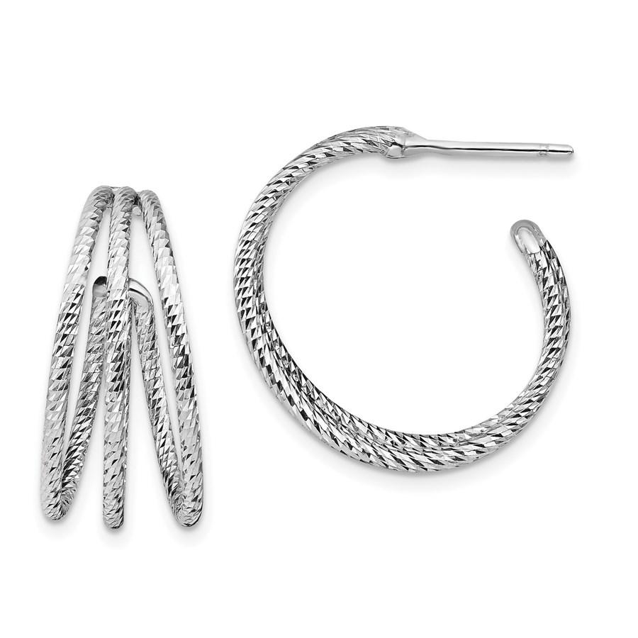 Sterling Silver Rhodium-plated D/C J-Hoop Earrings - 23.4 mm