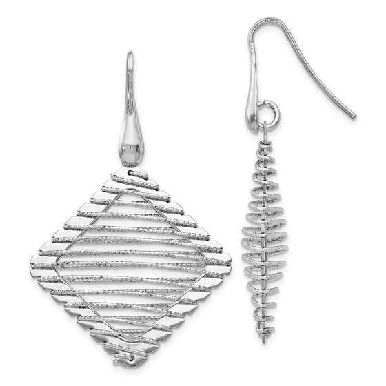 Sterling Silver Rhodium-plated Shepherd Hook Earrings - 46 mm