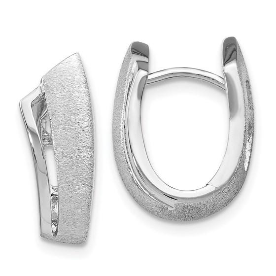 Sterling Silver Rhodium-plated Textured Hoop Earrings - 17 mm