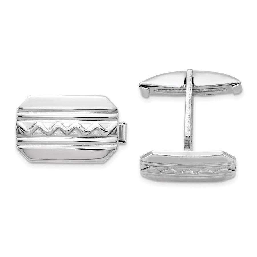 Sterling Silver Rhodium-plated Wave Design Cuff Links