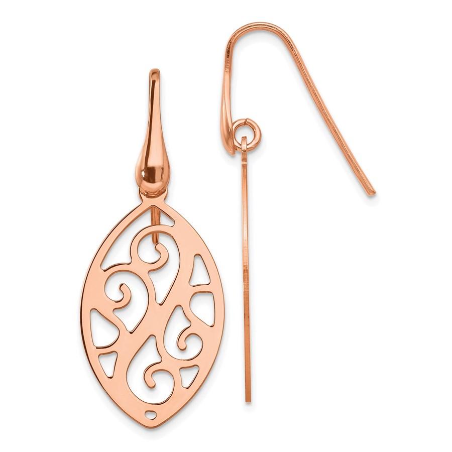 Sterling Silver Rose Gold-plated Dangle Earrings - 38 mm