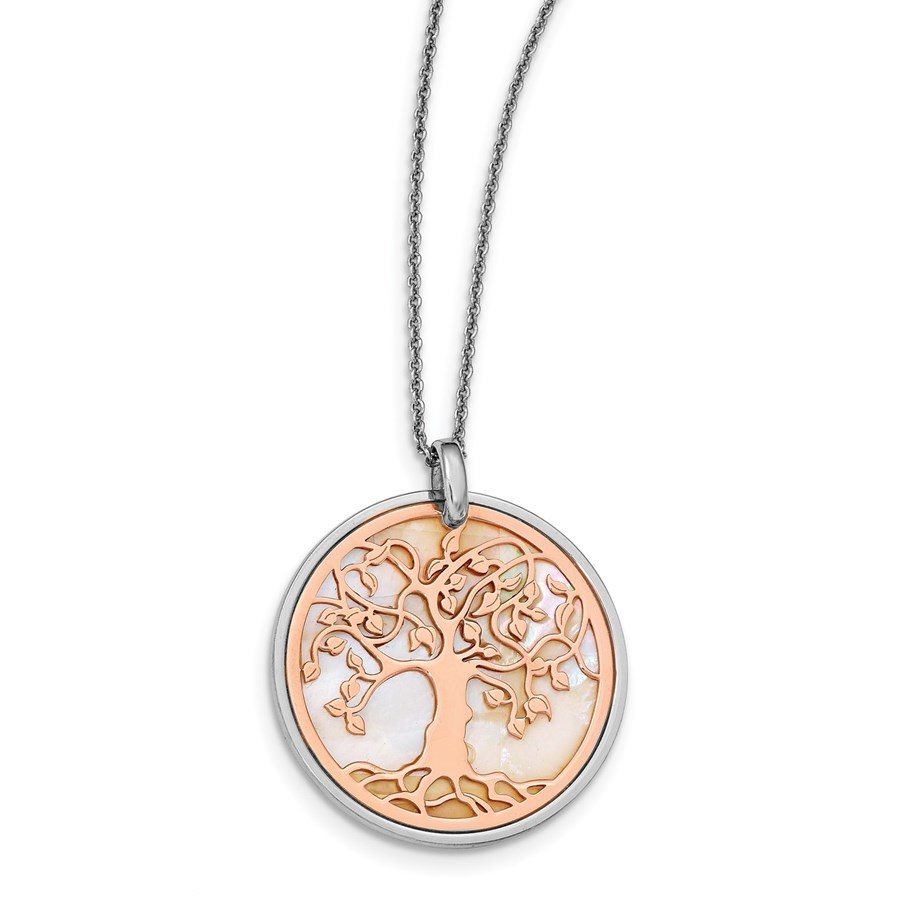 Sterling Silver Rose MOP Tree of Life Necklace - 17.5 in.