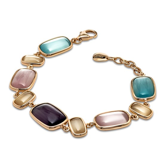 Sterling Silver Rose-tone Cat's Eye Bracelet