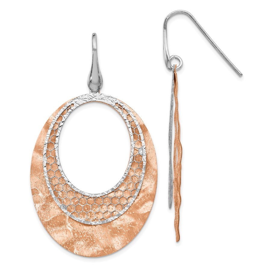 Sterling Silver Rose-tone Textured Dangle Earrings - 54 mm
