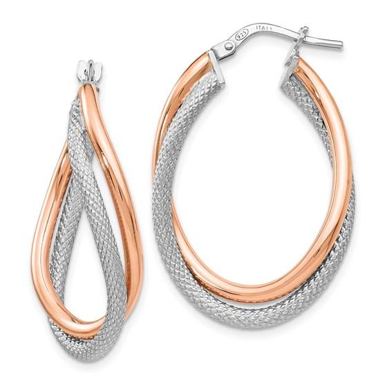 Sterling Silver Rose-tone Textured Hoop Earrings - 32.5 mm