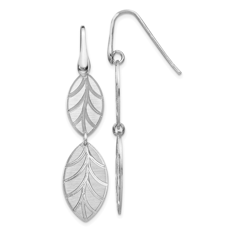 Sterling Silver RP Brushed/Polished Leaf Dangle Earrings - 51 mm