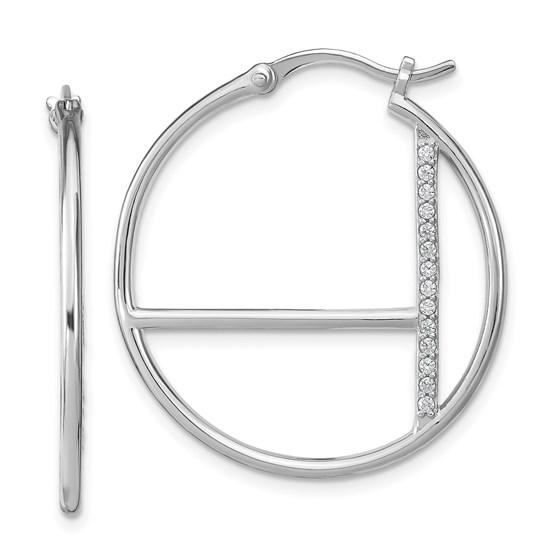 Sterling Silver RP CZ Hoop Earrings - 30.69 mm