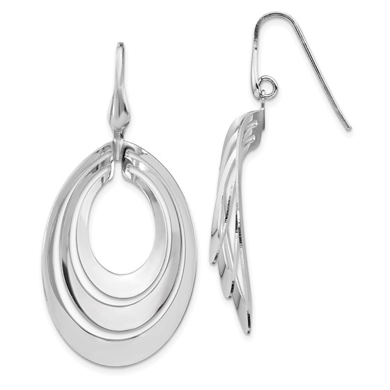 Sterling Silver RP Polished and Brushed Dangle Earring - 50.6 mm
