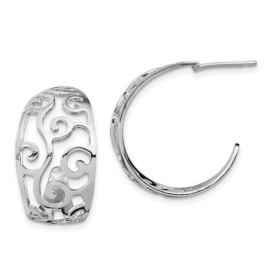 Sterling Silver RP Polished Cut-out J-Hoop Earrings - 21.75 mm