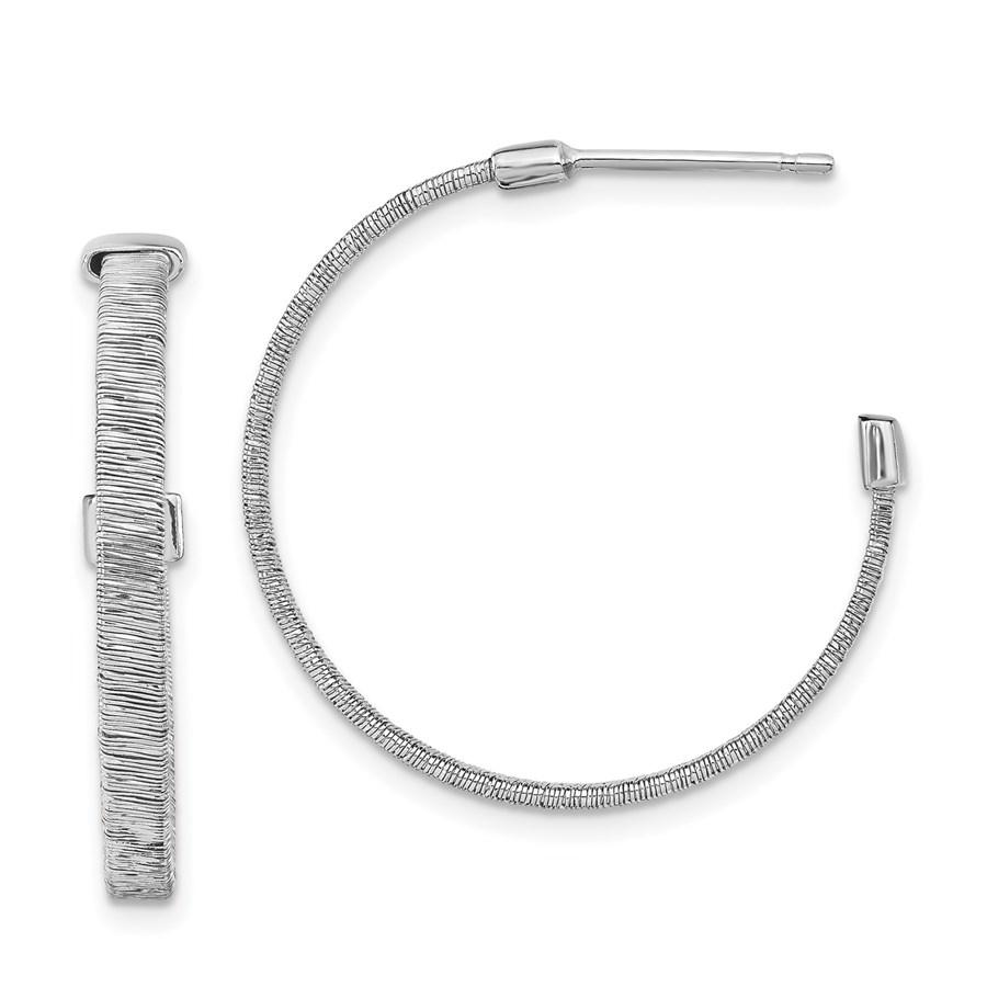 Sterling Silver RP Textured D/C Hoop Earrings - 27 mm