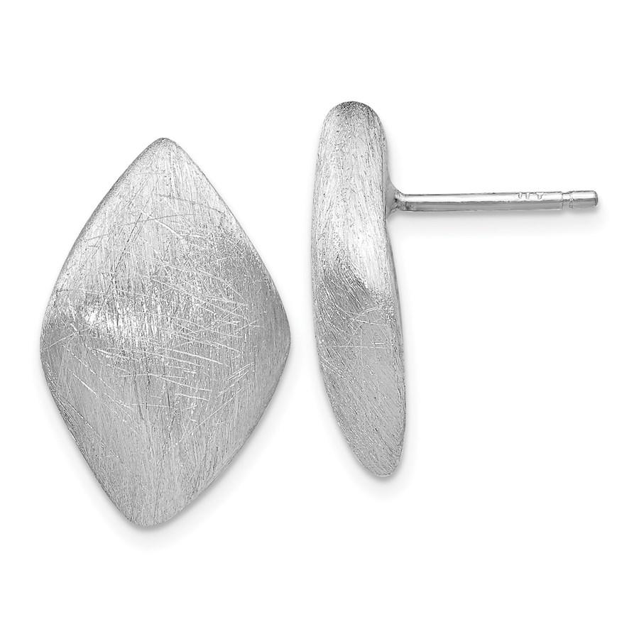 Sterling Silver Scratch Finish Post Earrings - 19 mm