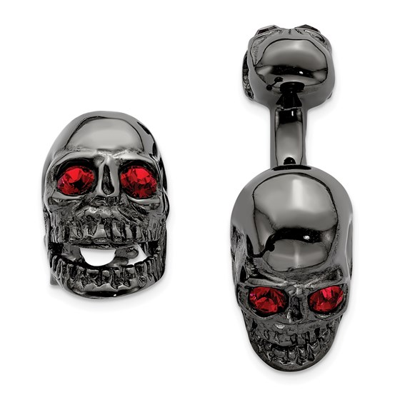 Sterling Silver Swarovski Movable Skull Cuff Link