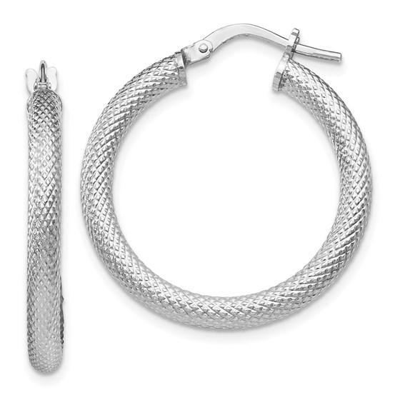 Sterling Silver Textured Hinged Hoop Earrings - 26 mm