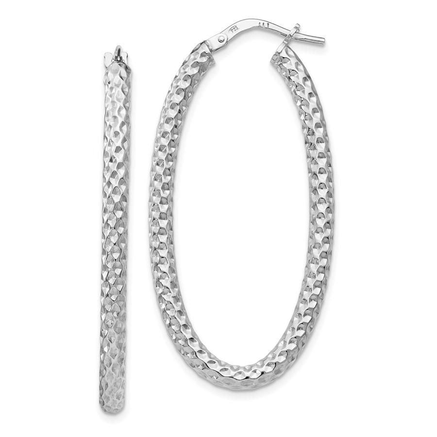Sterling Silver Textured Oval Hinged Hoop Earrings - 42 mm