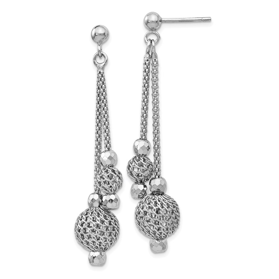 Sterling Silver Textured Post Dangle Earrings - 48 mm