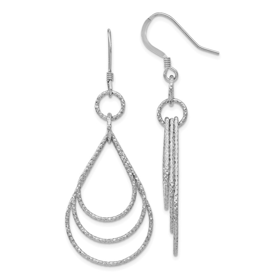 Sterling Silver Textured Shepherd Hook Dangle Earrings - 56.5 mm