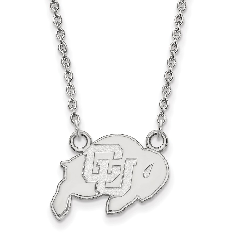 Sterling Silver Univ. of Colorado Small Pendant Necklace - 18 in.