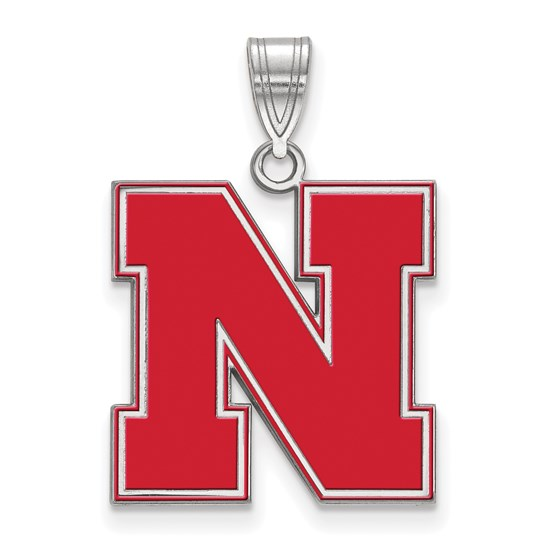 Sterling Silver Univ. of Nebraska Large Enamel Pendant