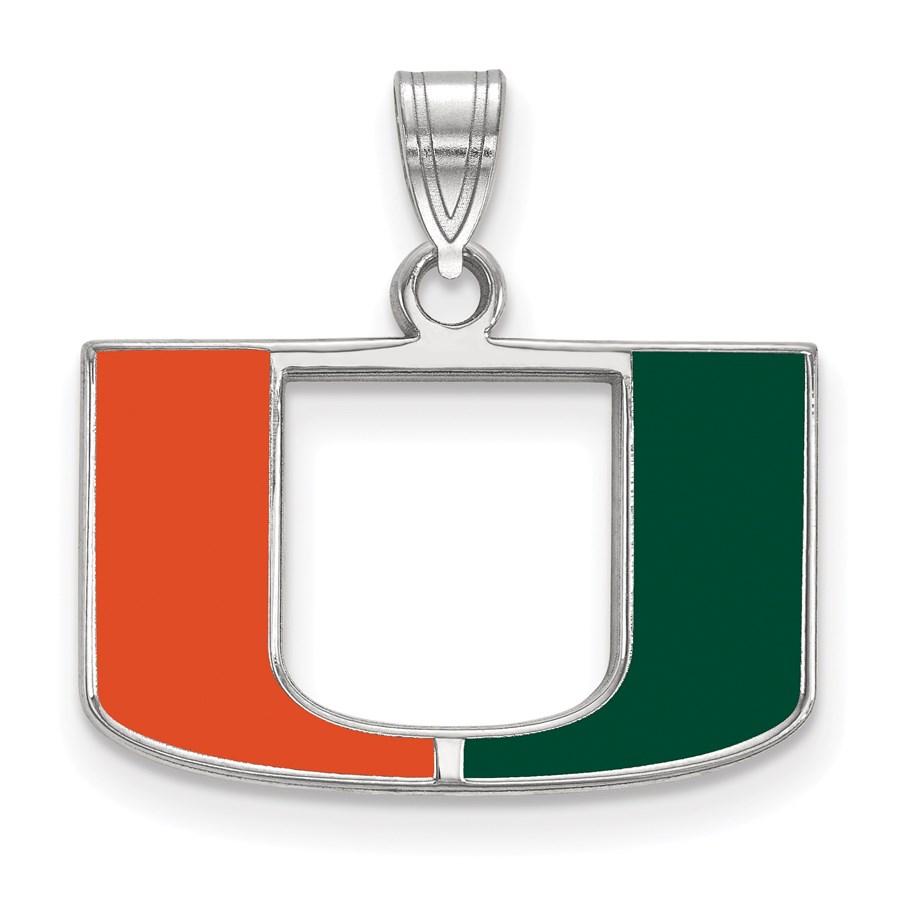 Sterling Silver University of Miami Enamel Pendant