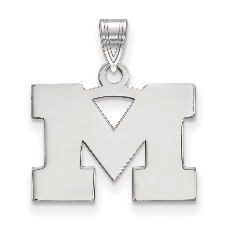 Sterling Silver University of Michigan Small Pendant