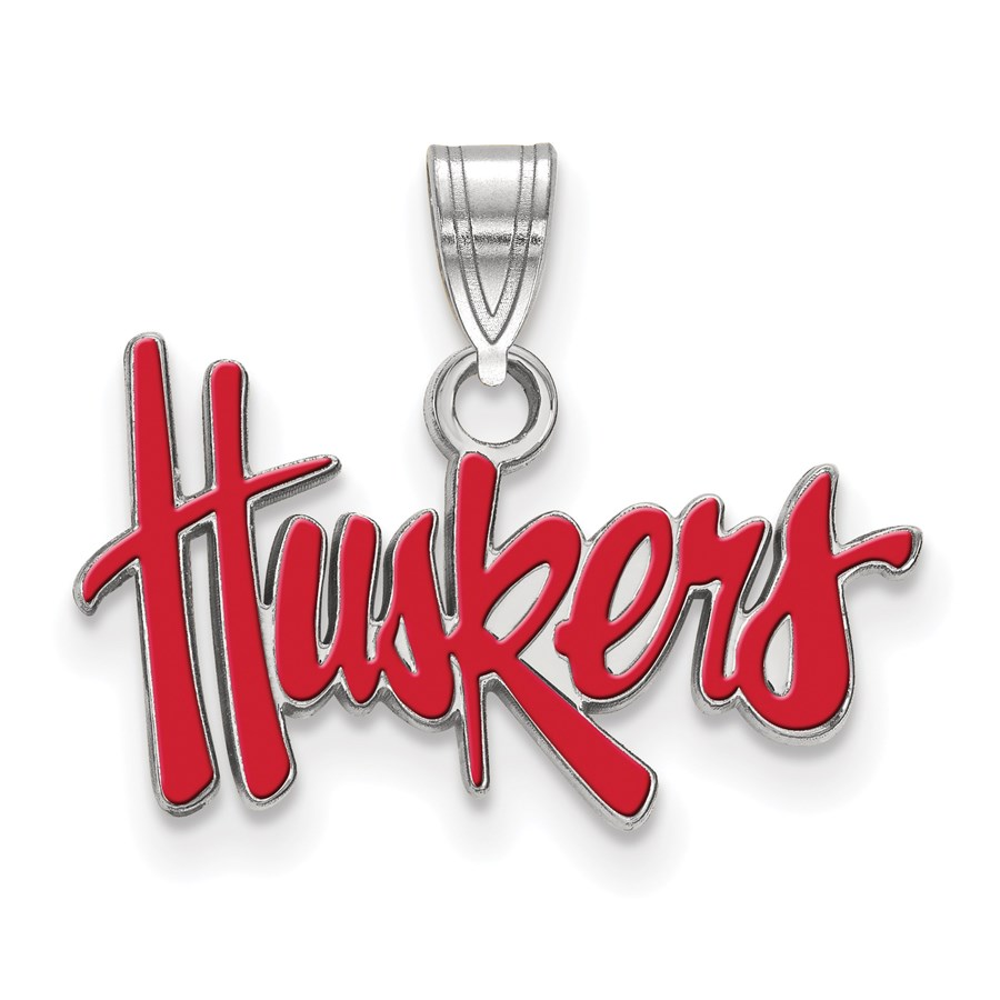 Sterling Silver University of Nebraska Enamel Pendant