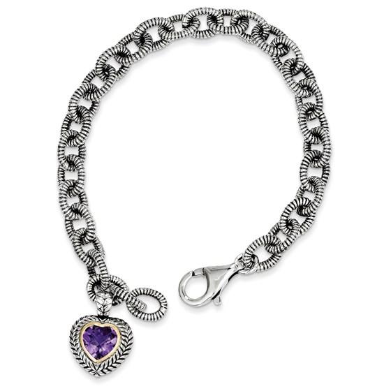 Sterling Silver w/14k Amethyst Heart Link Bracelet