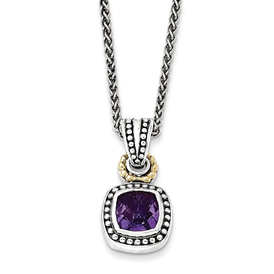 Sterling Silver w/14k Antiqued Amethyst Square Necklace