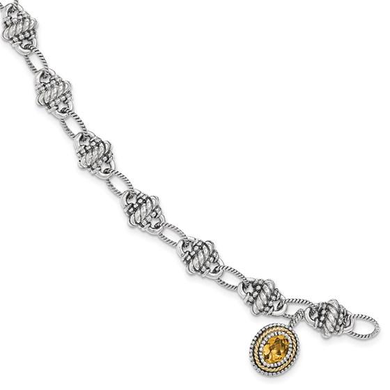 Sterling Silver w/14k Citrine Bracelet