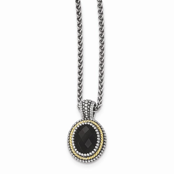 Sterling Silver w/14k Gold & Black Onyx Necklace