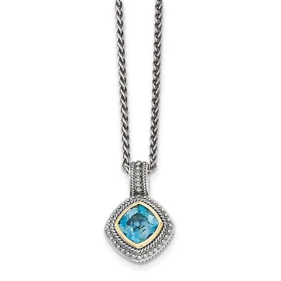 Sterling Silver w/14k London Blue Topaz Necklace