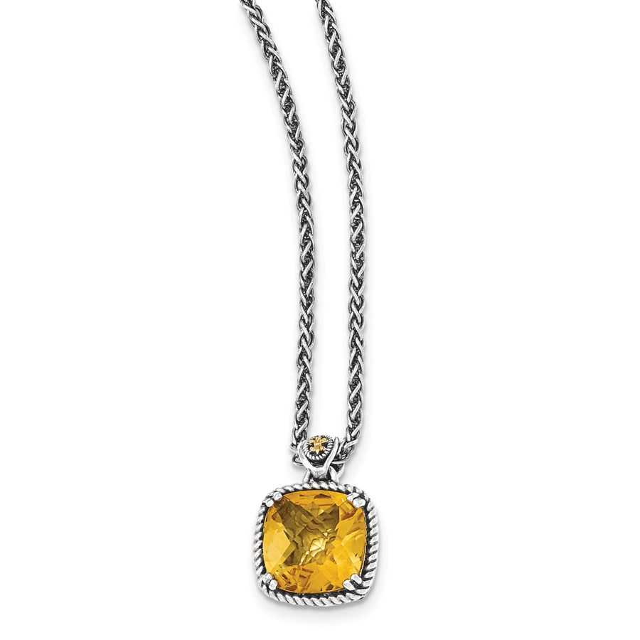 Sterling Silver w/14k Square Citrine Necklace