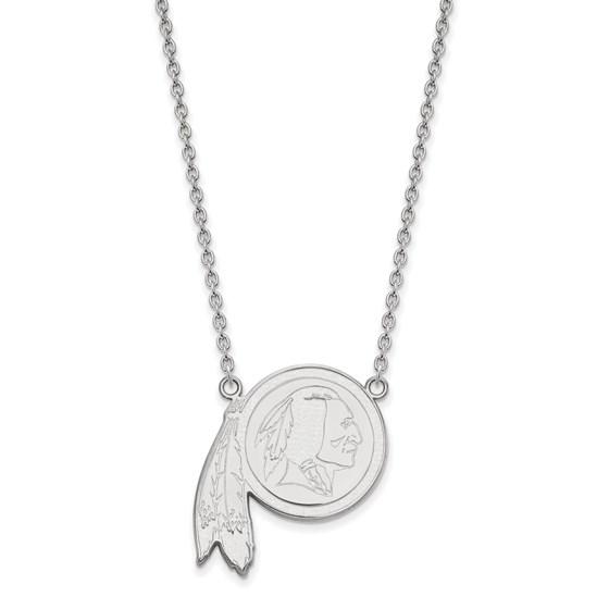 Sterling Silver Washington Redskins Large Pendant Necklace