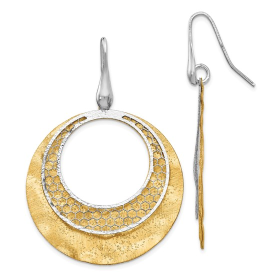 Sterling Silver Yellow/White D/C Scratch-finish Earrings - 51 mm