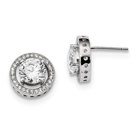 Sterling Silver & Zirconia Brilliant Embers Earrings (12 mm)