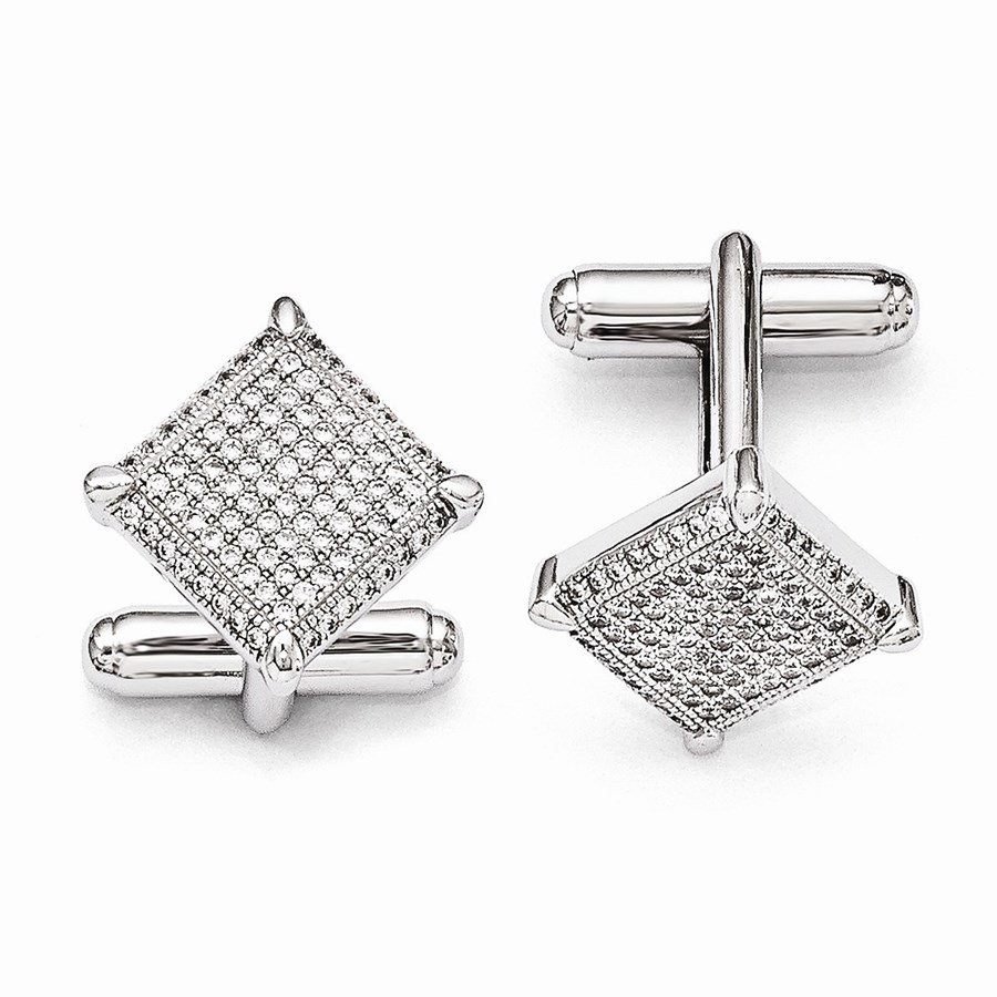 Sterling Silver & Zirconia Cuff Links