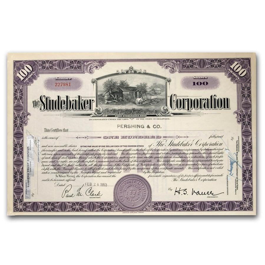 Studebaker Corporation Stock Certificate