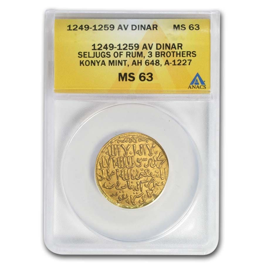 Sultanate of Rum Gold Dinar (1249-1259 AD) MS-63 ANACS (Crusades)