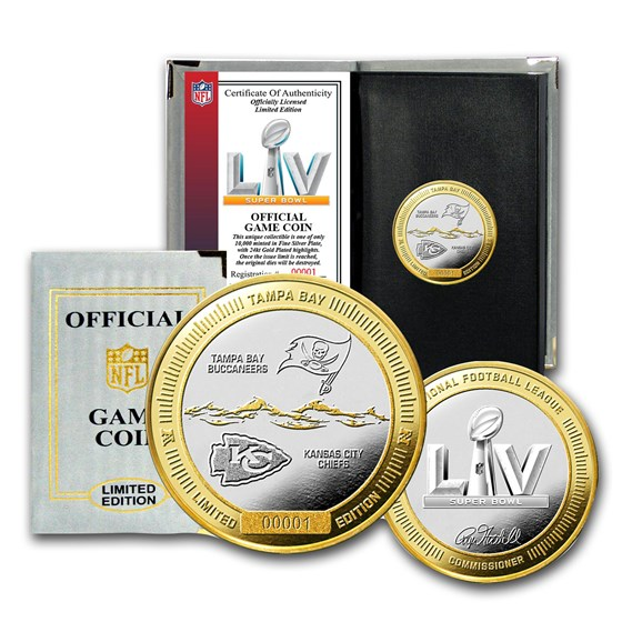 Super Bowl LV Official 2-Tone Flip Coin - Buccaneers vs. Chiefs