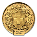 Swiss Gold 20 Francs Helvetia Coin AU (Random Year)