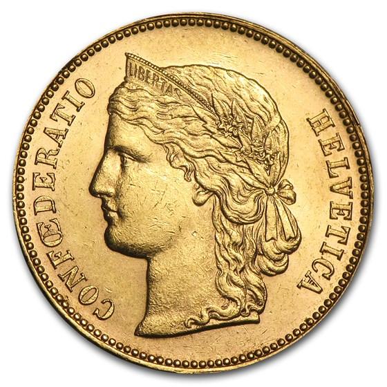 Switzerland Gold 20 Francs Helvetica (1883-1896) Avg Circ