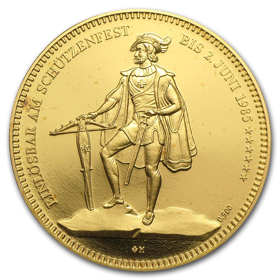 Switzerland Proof Gold 1000 Francs Shooting Thaler (AGW .7524)