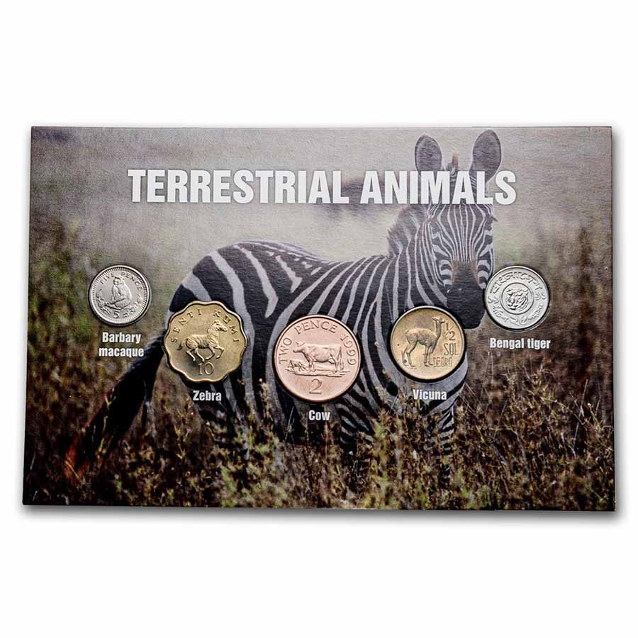Terrestrial Animal Coins from Around the World 5-Coin Set BU