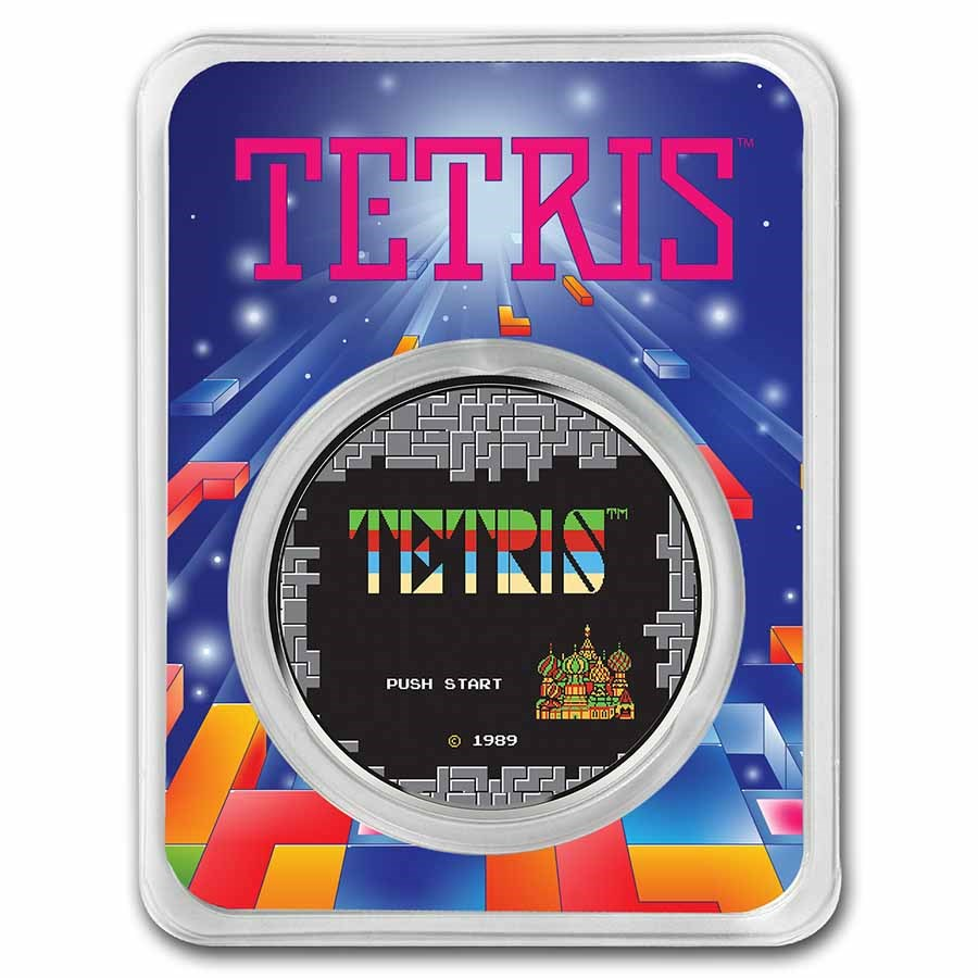 Tetris™ Rocket Launch 1 oz Silver Colorized Round in TEP
