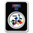 Tetris™ Tetrimino Blocks 1 oz Silver Colorized Round in TEP