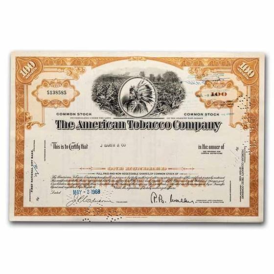 The American Tobacco Company Stock Certificate (Orange)