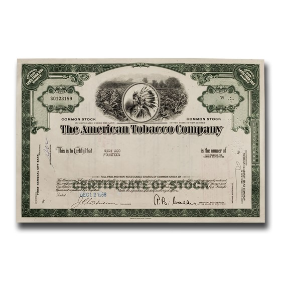 The American Tobacco Company Stock Certificate